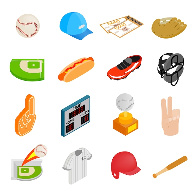 American football isometric 3d icons Premium Vector