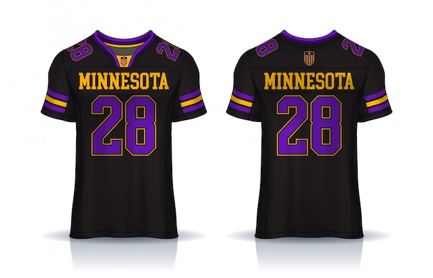 American football jersey, t-shirt sport design template.uniform front and back view. Premium Vector