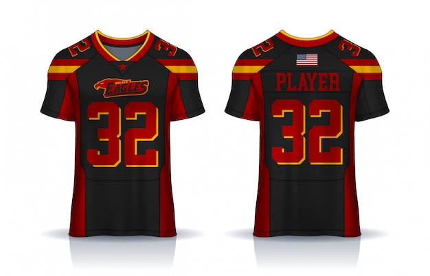 American football jersey, t-shirt sport design template. uniform front and back view. Premium Vector