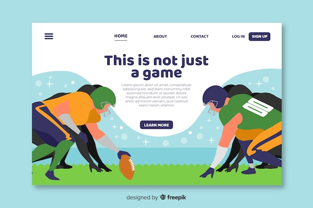 American football landing page template Free Vector