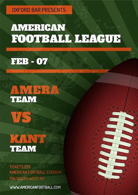 Modello del manifesto della lega di football americano Vettore gratuito