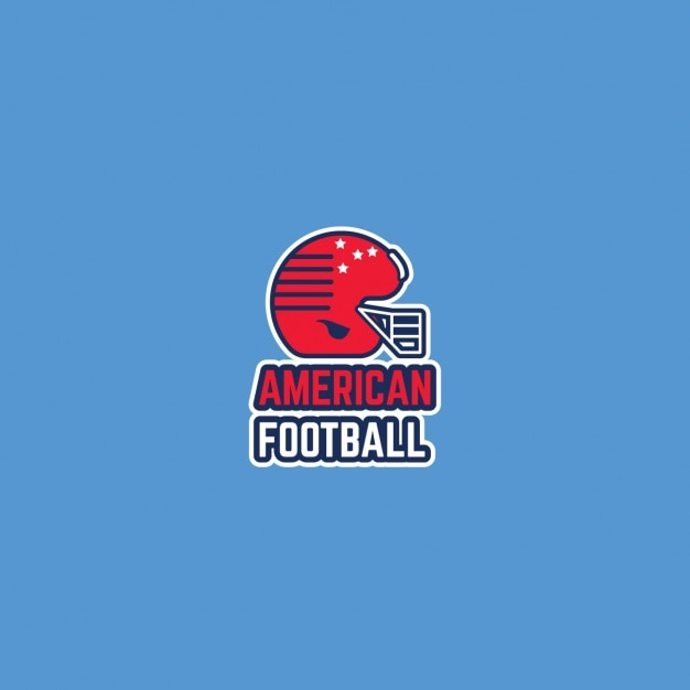 American football logo, blue background Free Vector