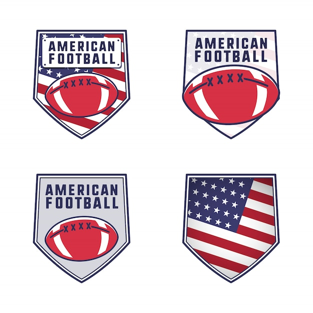 American football logo emblems set. usa sports badges collection in flat colorful style patches Premium Vector