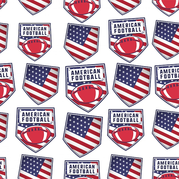 American football patch pattern design with usa flag, ball and typography elements. rugby seamless background. unusual sports wallpaper. Premium Vector