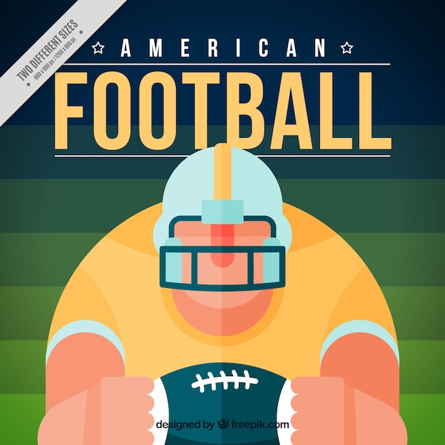 American football player background in flat\ design