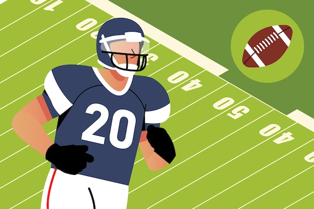 American football player in front of field Free Vector