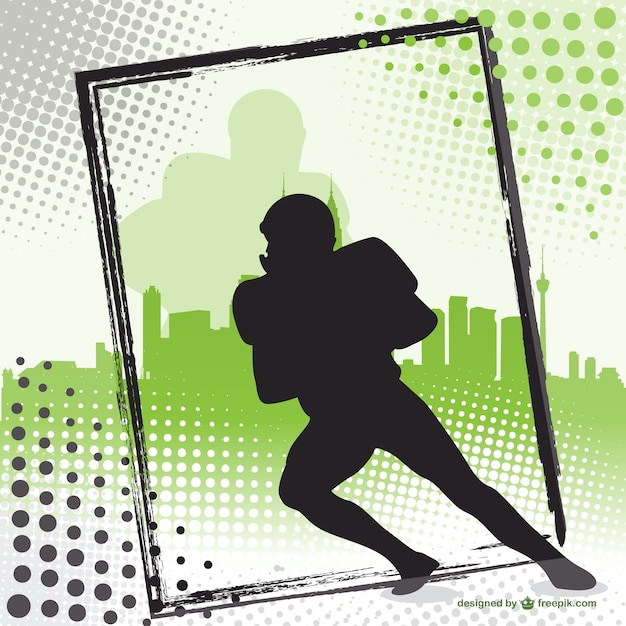 American football player silhouette\ background