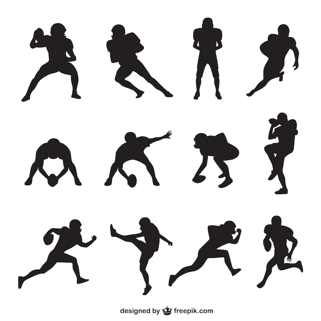 American Football Player Silhouettes Collection Vector Free Download