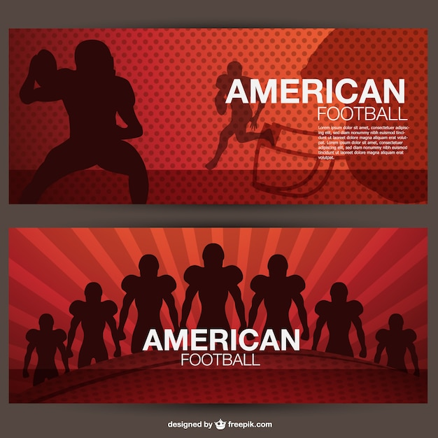 American Football Players Banners Set Free Vector