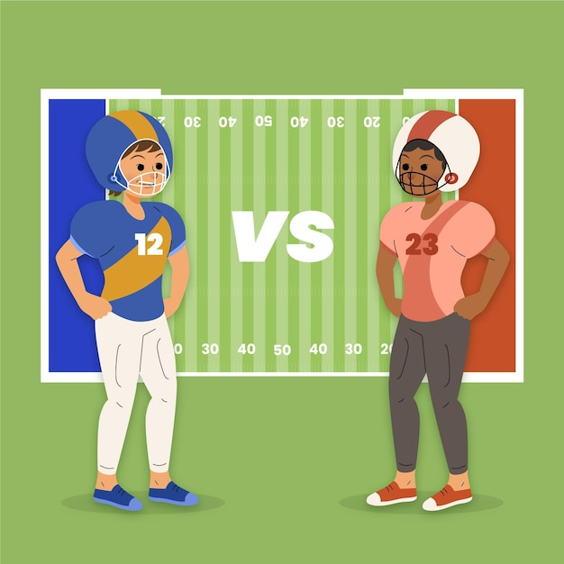 American football players in front of the field Premium Vector