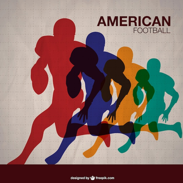 American football players running in different colors Free Vector
