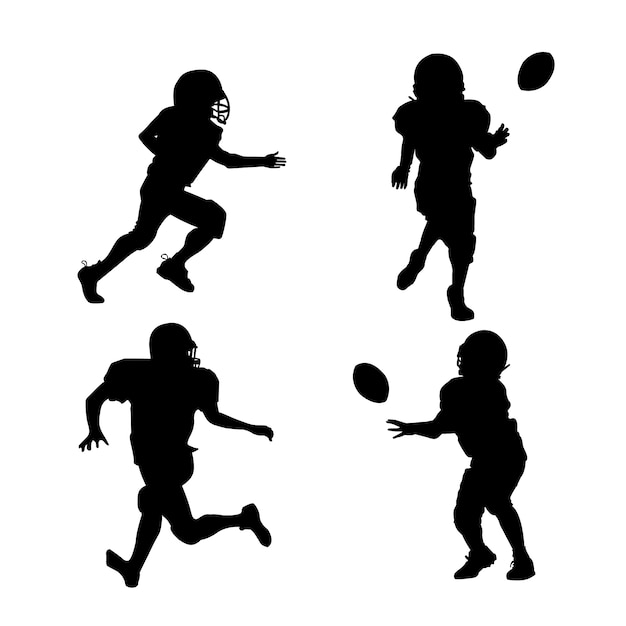 American football players silhouettes with equipment Free Vector
