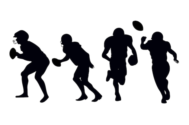 American football players silhouettes Free Vector