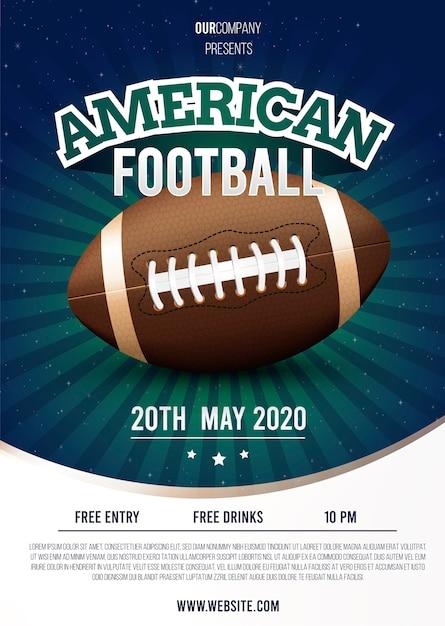 Concetto del modello del manifesto di football americano Vettore gratuito