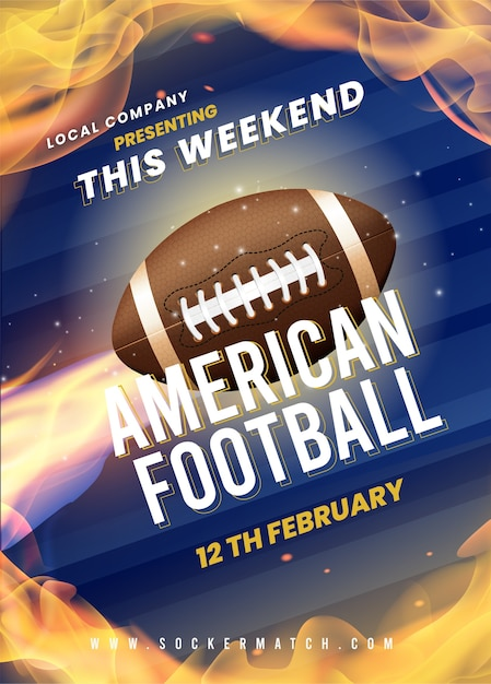 American football poster template design Free Vector