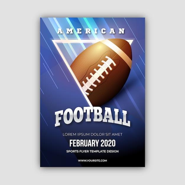 Poster di football americano con palla Vettore gratuito