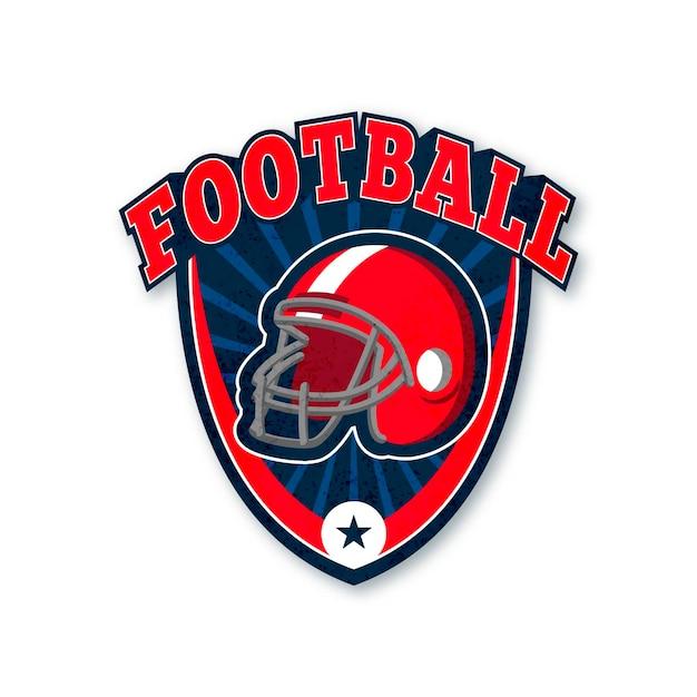 American football red helmet logo template Free Vector