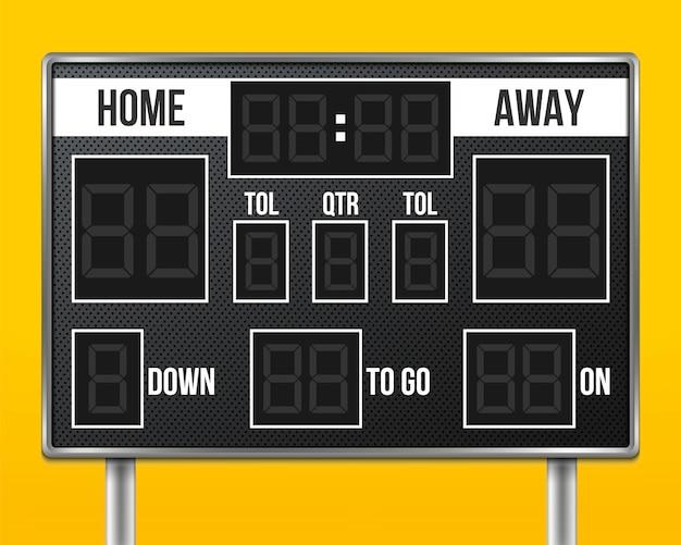 American football scoreboard, sport game score. Premium Vector