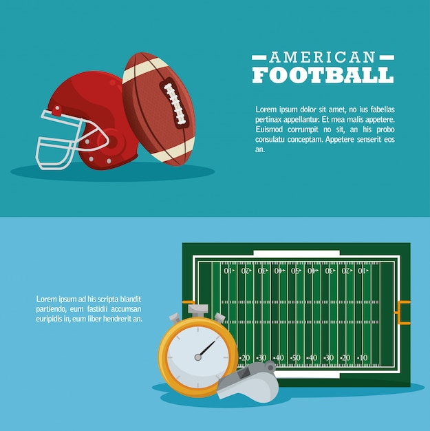 American football sport banner Free Vector