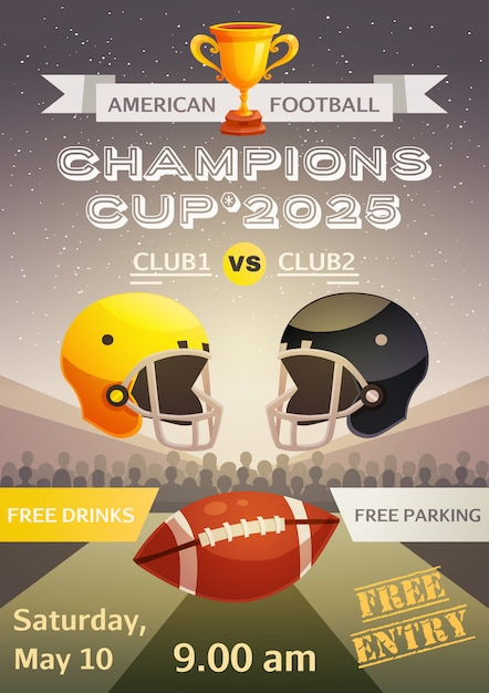 American football sport poster Free Vector