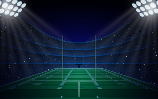 American football stadium arena field with bright lights Premium Vector