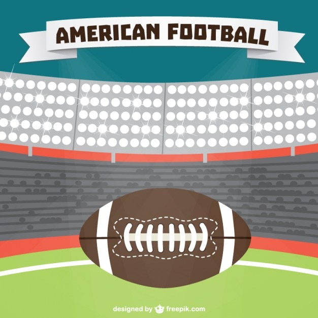 American Football Stadium Background And Ball Vector Free