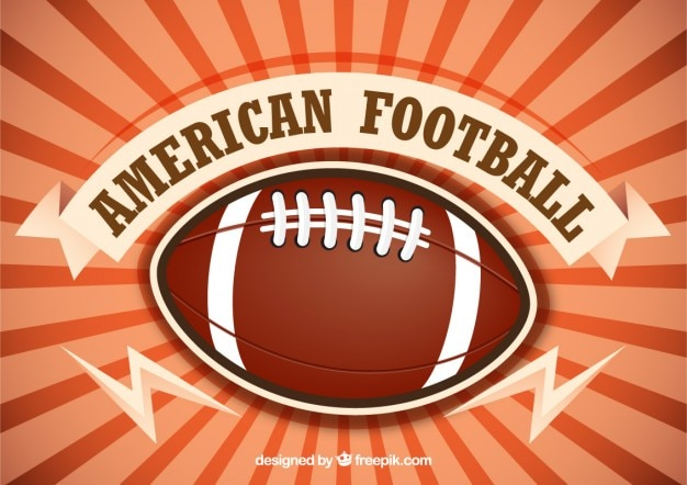 American football with sunburst