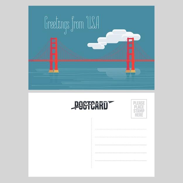 アメリカのゴールデンゲートブリッジのイラスト。アメリカへの旅行の概念のために米国から送信された航空便カードの要素 Premiumベクター