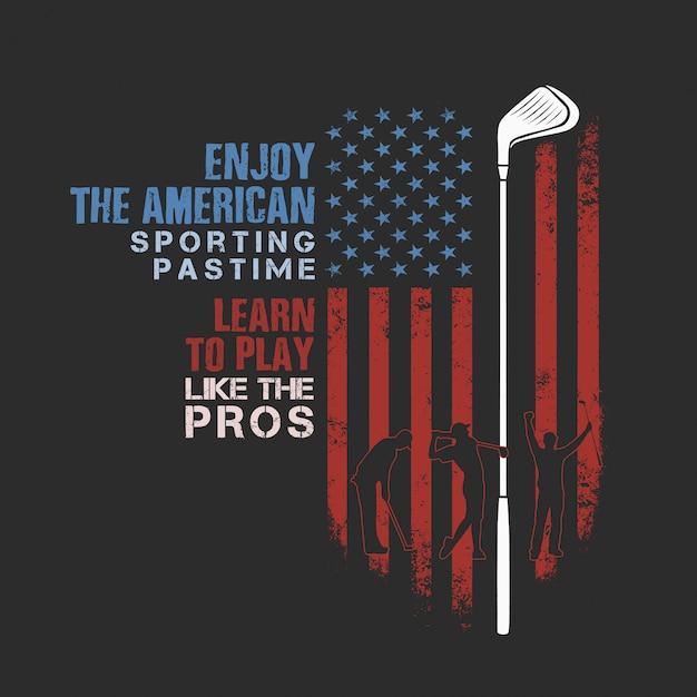 American golf sporting time Premium Vector
