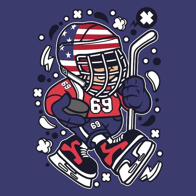 American Hockey Kid Cartoon Premium Vector