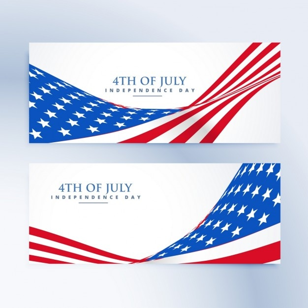 American independence day 4th of july banners Vector Free Download