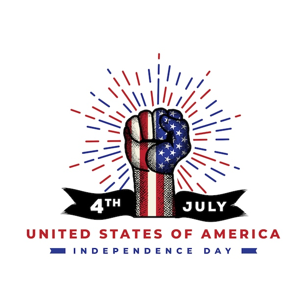 American independence day with detailed hand sketch premium vector Premium Vector
