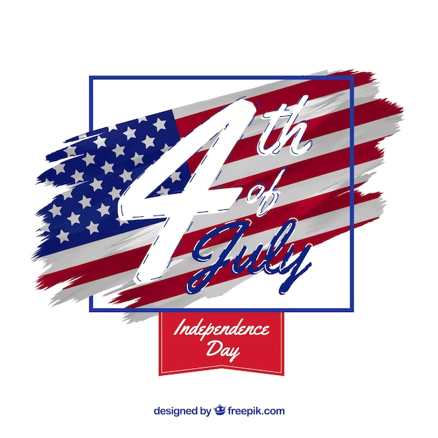 American independence day with flag and date Free Vector