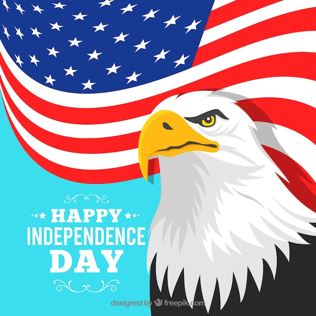 American independence day with flag and eagle Free Vector