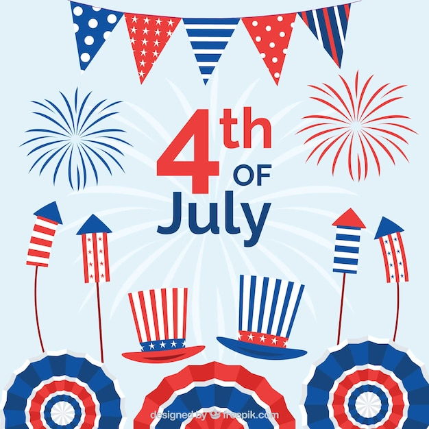American independence day with fun style Free Vector