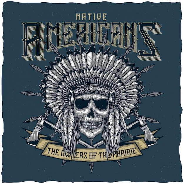 American indian chief skull with tomahawk. t-shirt label design. hand drawn illustration. Free Vector