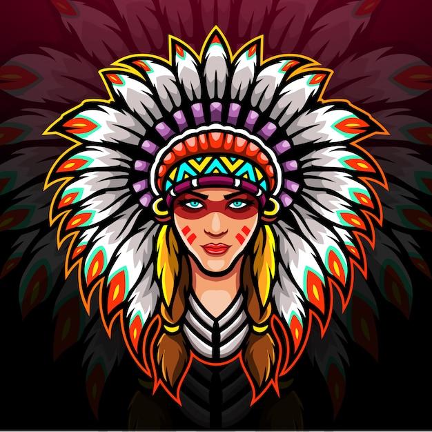 American indian esport logo mascot design. Premium Vector