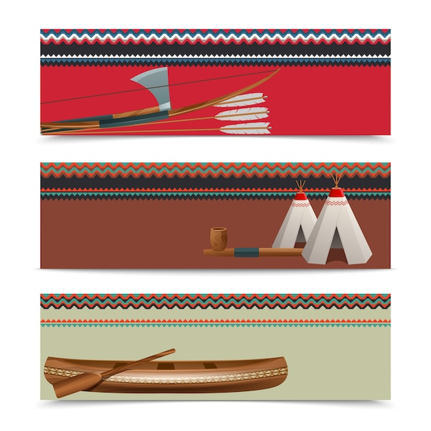 American indian ethnic banners set Free Vector