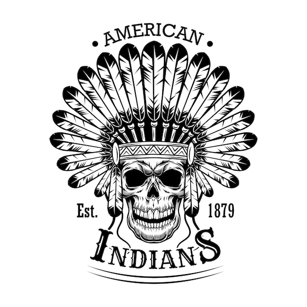 American indian skull vector illustration. head of skeleton with feather headdress and text. native americans and red indian concept for emblems or labels templates Free Vector
