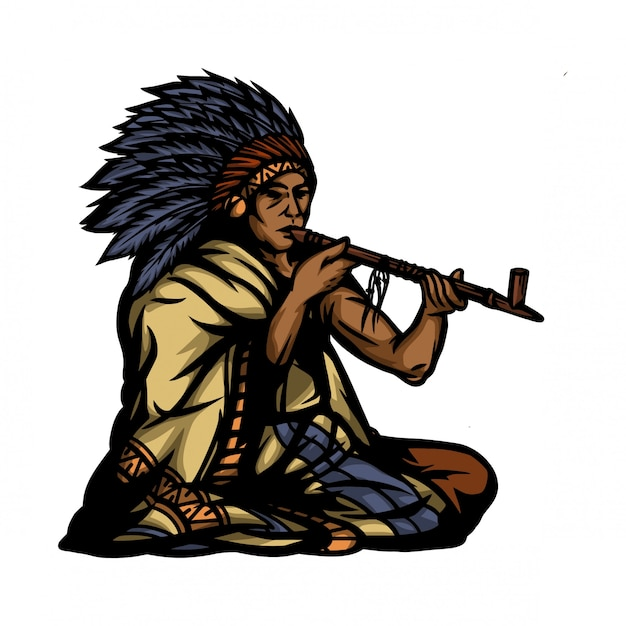American indian and smoke pipe Premium Vector