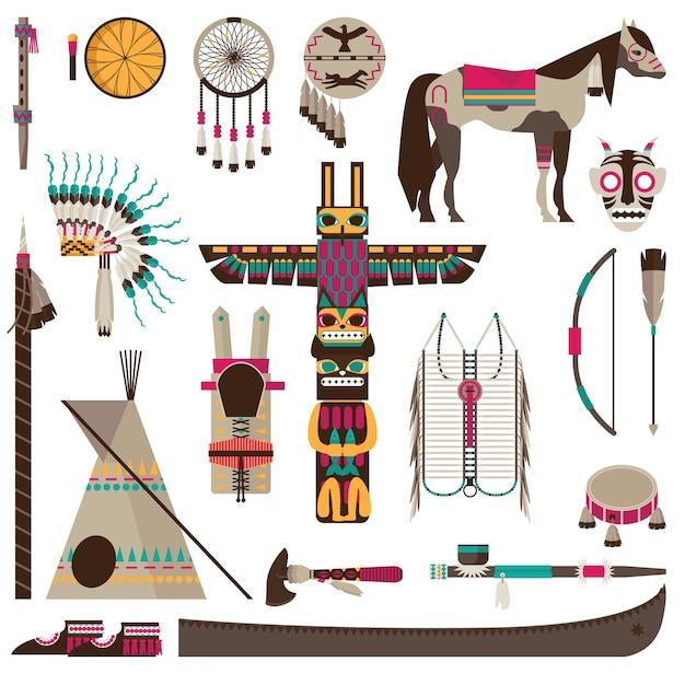 アメリカインディアンのシンボルと部族のアクセサリーフィアットアイコンセット分離 無料ベクター