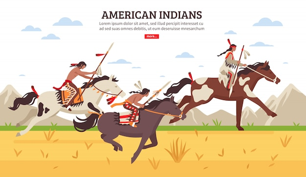 American indians cartoon illustration Free Vector