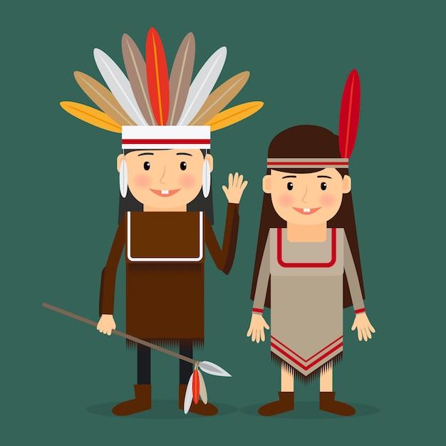American indians children vector Premium Vector