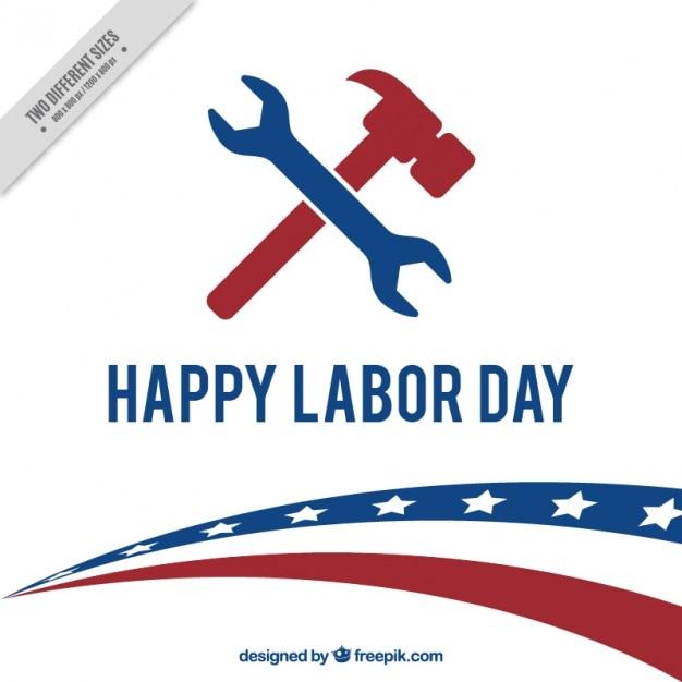 Американский трудовой день фон с гаечным ключом и молотком Бесплатные векторы