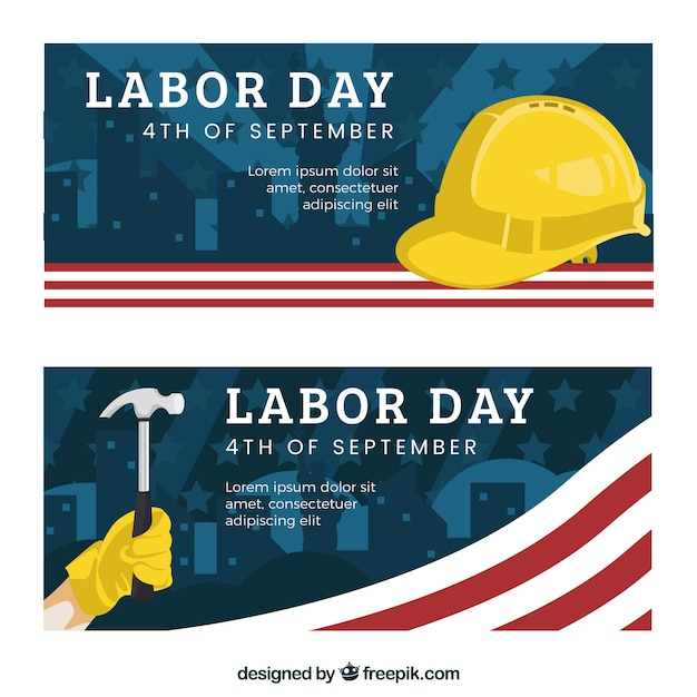American labor day banners with hammer and\ helmet