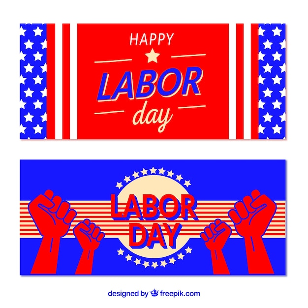 American labor day banners