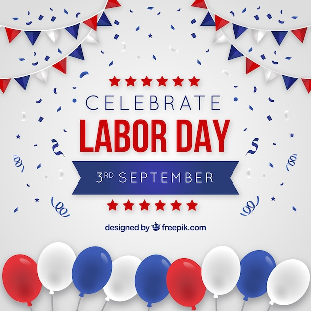 American labor day composition with flat design Free Vector