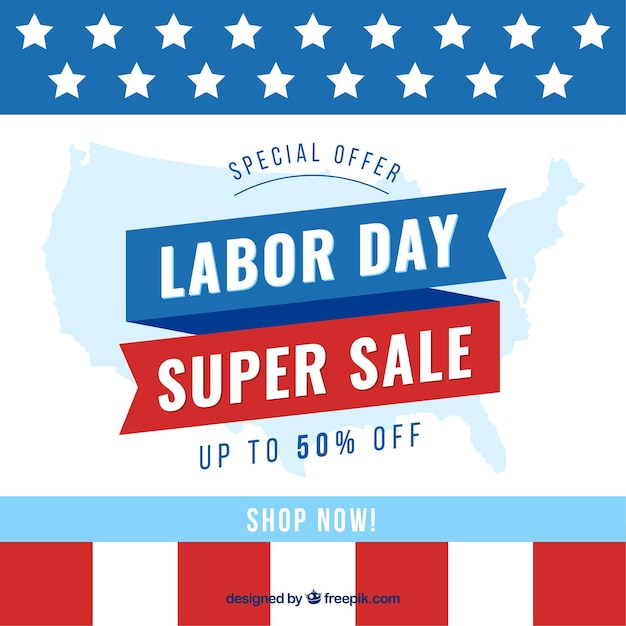 American labor day sale with flat design Free Vector