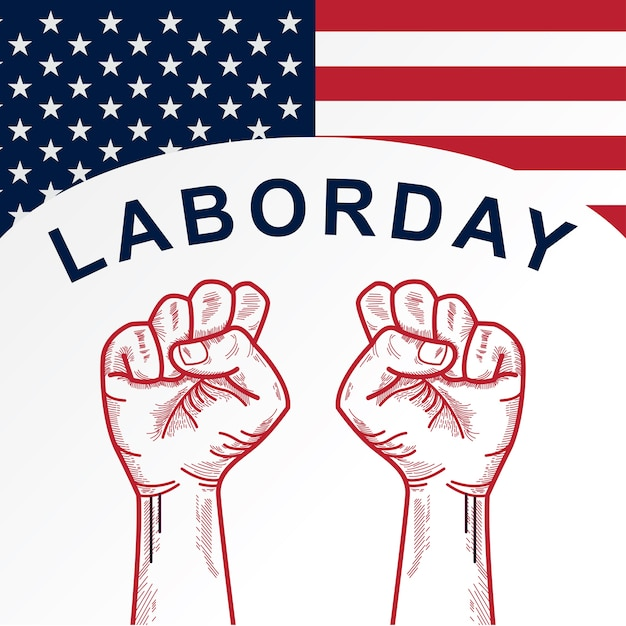 American labor day with clenched fist background Premium Vector