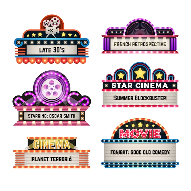 American motel and movie retro signs with light frame. vintage casino billboards vector set Premium Vector